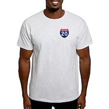 I-20 Highway Ash Grey T-Shirt