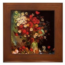 Van Gogh Flowers Framed Tile