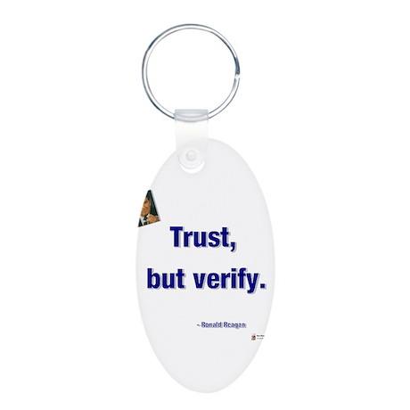 Reagan trust.png Aluminum Oval Keychain