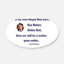 reagan nation under god.png Oval Car Magnet