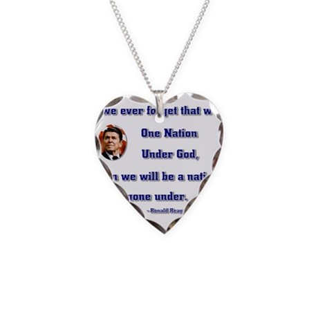 reagan nation under god.png Necklace Heart Charm