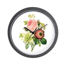 Pierre-Joseph Redoute Flowers Wall Clock