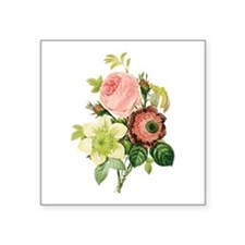 "Pierre-Joseph Redoute Flowers Square Sticker 3"" x"