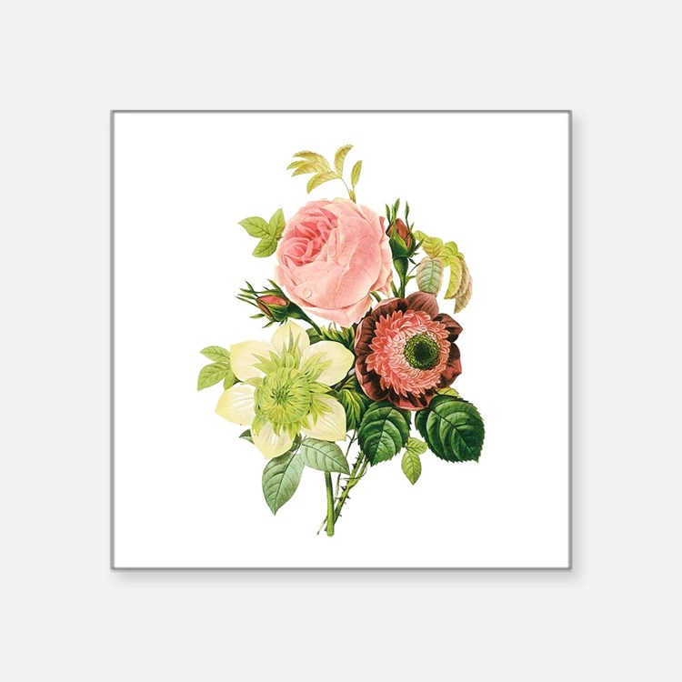 "Pierre-Joseph Redoute Flowers Square Sticker 3"" x"