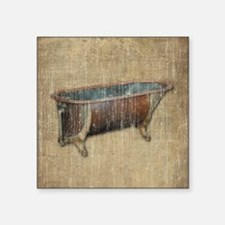 "Antique Bathtub Square Sticker 3"" x 3"""