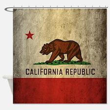 Grunge California Flag Shower Curtain