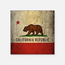 "Grunge California Flag Square Sticker 3"" x 3"""