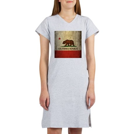 Grunge California Flag Women's Nightshirt