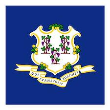"""Connecticut Flag Square Car Magnet 3"""" x 3"""""""