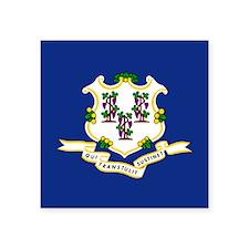 "Connecticut Flag Square Sticker 3"" x 3"""