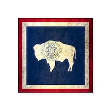 "Grunge Wyoming Flag Square Sticker 3"" x 3"""