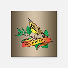 "Wyoming Meadowlark Square Sticker 3"" x 3"""