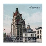 Grunge Wisconsin Flag Tile Coaster