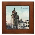 Grunge Wisconsin Flag Framed Tile