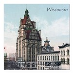 Grunge Wisconsin Flag Square Car Magnet 3