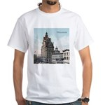 Grunge Wisconsin Flag White T-Shirt
