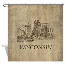 Vintage Wisconsin Shower Curtain