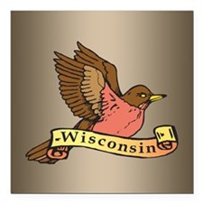 "Wisconsin Robin Square Car Magnet 3"" x 3"""