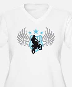 motorcycle jump fire wings T-Shirt