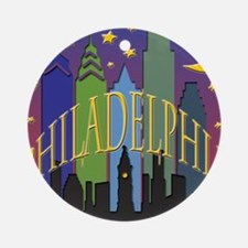 Philly Skyline rainbow Ornament (Round)