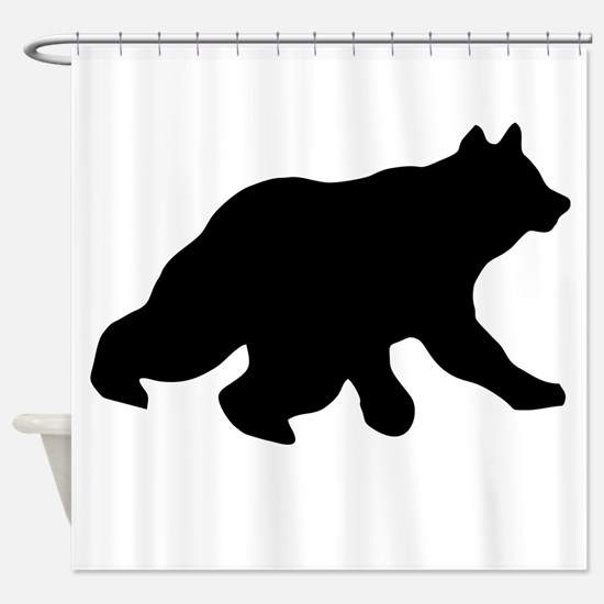 Black Bear Cub Crossing Walking Shower Curtain