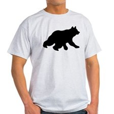Black Bear Cub Crossing Walking Silhouette T-Shirt