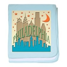 Philly Skyline beachy baby blanket
