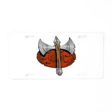 Viking Shield & Battle Ax Aluminum License Plate