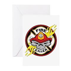 Firefighter Skull Greeting Cards (Pk of 10)