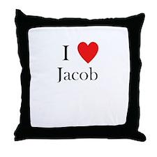 i love jacob heart Throw Pillow