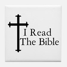 I Read the Bible Christian Tile Coaster