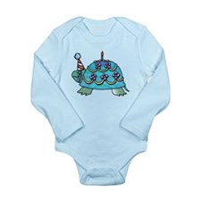Blue Birthday Turtle Long Sleeve Infant Bodysuit