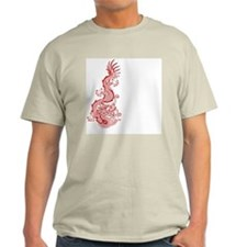 Chinese Red Dragon Graphic Ash Grey T-Shirt