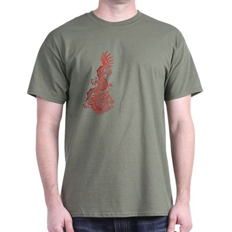 Chinese Red Dragon Graphic Dark T-Shirt