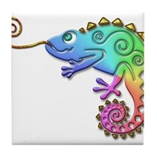 Cool Colored Chameleon Tile Coaster