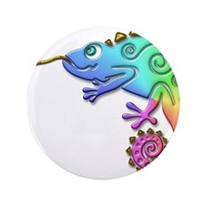"""Cool Colored Chameleon 3.5"""" Button"""