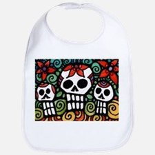 Day of the Dead Floral Sugar Skulls Baby Bib