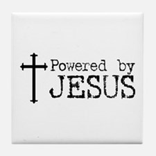 Powered by Jesus with Cross Tile Coaster