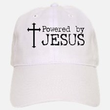 Powered by Jesus with Cross Baseball Baseball Cap