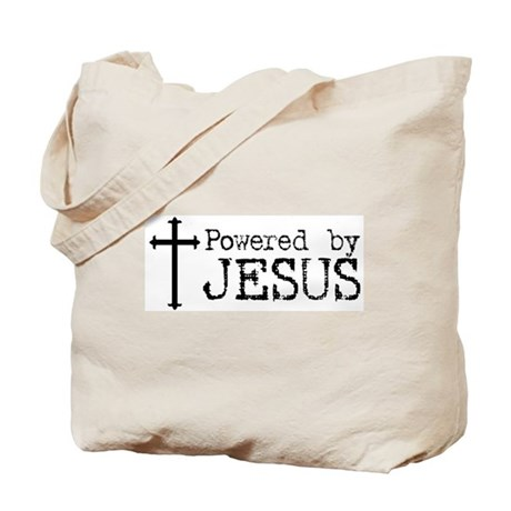 Powered by Jesus with Cross Tote Bag