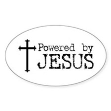 Powered by Jesus with Cross Oval Stickers