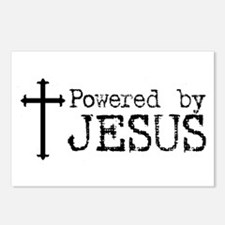 Powered by Jesus with Cross Postcards (Package of