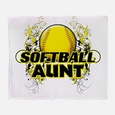 Softball Aunt (cross).png Throw Blanket