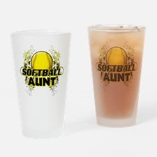 Softball Aunt (cross).png Drinking Glass