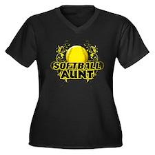 Softball Aunt (cross).png Women's Plus Size V-Neck
