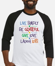 Live Simply Affirmations Baseball Jersey