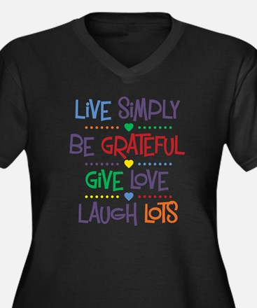 Live Simply Women's Plus Size V-Neck Dark T-Shirt