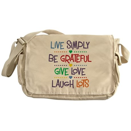 Live Simply Affirmations Messenger Bag