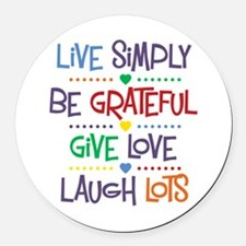 Live Simply Affirmations Round Car Magnet