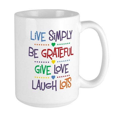 Live Simply Affirmations Large Mug